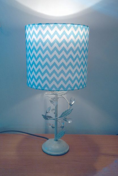 Lampshade with blue and white chevron