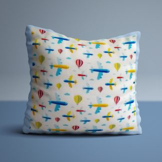 Kids cushion with aeroplane and hot air balloon