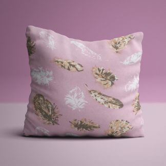 Pastel pink cushions with feather illustrations