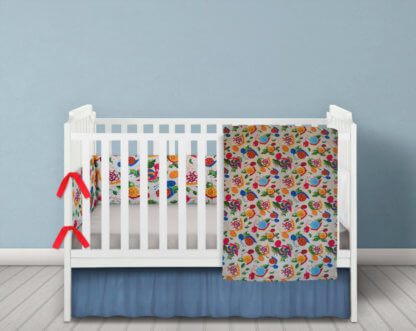 Snail themed baby bedding in bright colours