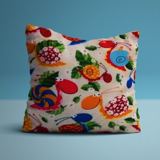 Cushion with colourful snails