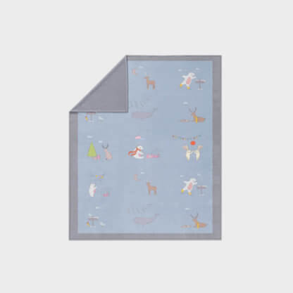 Animal them in grey and blue fleece blanket