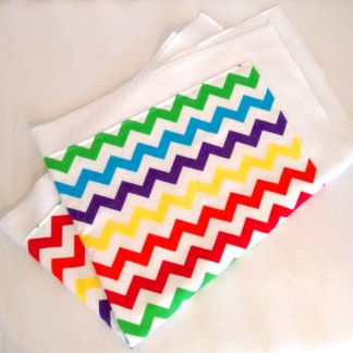 Multi coloured chevron printed fleece baby blanket