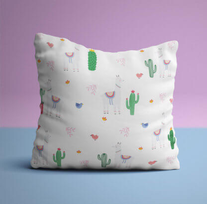 Scatter cushion with llamas and cactus