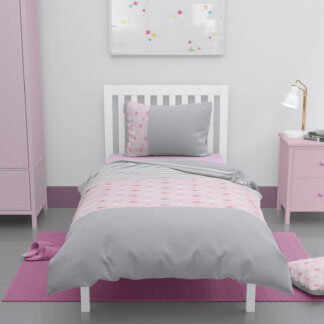 Toddlers grey and pink stars duvet cover