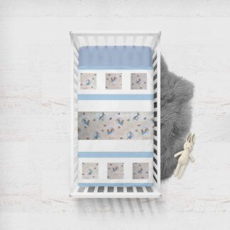White quilt with Peter Rabbit