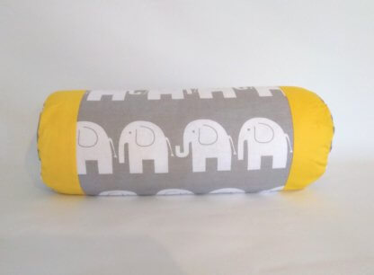Yellow and grey elephant bolster cushions