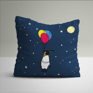 Navy blue cushion with penguin