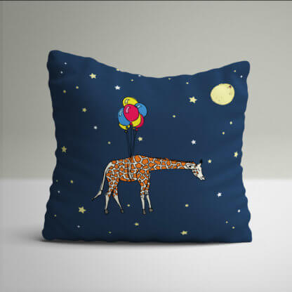 Giraffe kids cushions in a navy sky with moon