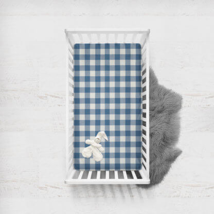 Baby boys gingham fitted cot sheet