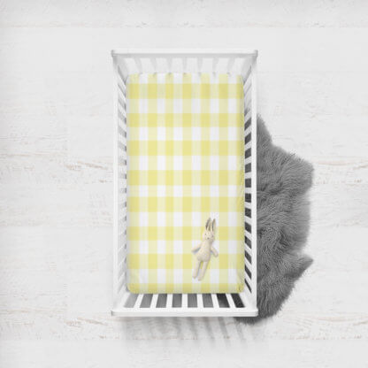 Fitted cot sheet in yellow gingham