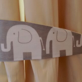 Grey and white elephant curtain tie backs