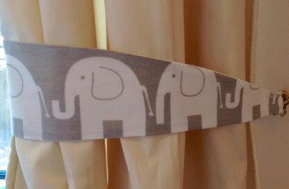 Grey and white elephant curtain tie backs