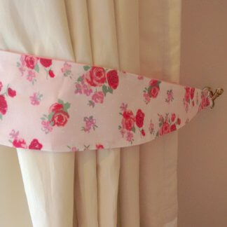 Pink and white floral curtain tie backs