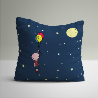 Little boy with balloons cushions