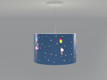 Animal themed lampshade in navy with animal illustrations around the shade