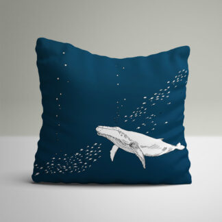 Navy whale cushion