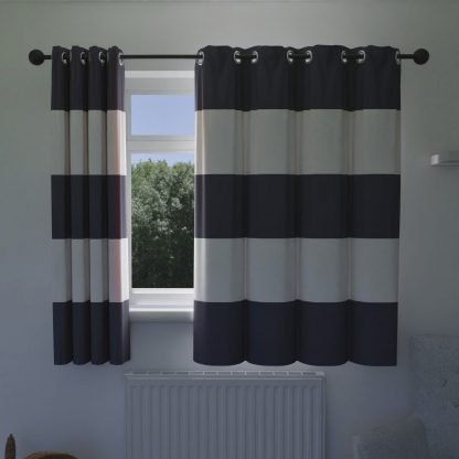 Navy and white wide striped curtains.