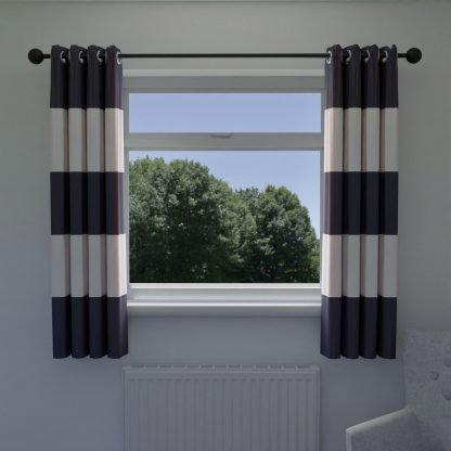 Navy and white curtains