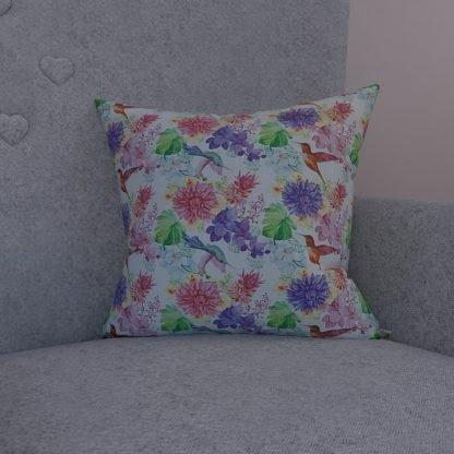 Floral bird cushion