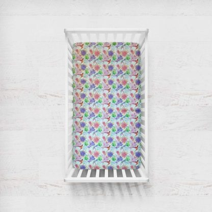 Pastel floral fitted cot sheet
