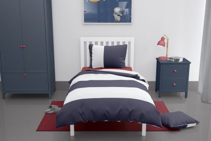 Navy and white wide striped duvet set