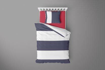 Navy and white striped duvet