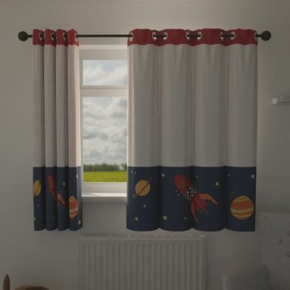 Space themed children's curtains.