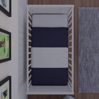 Navy and white striped baby quilt