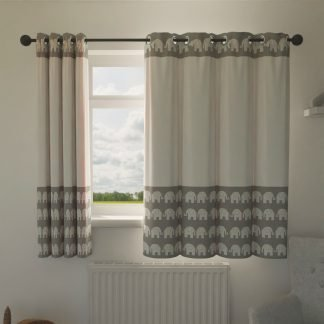 Grey and white elephant curtains