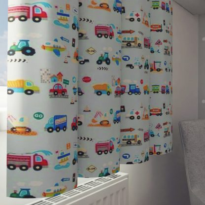 Transport themed curtains