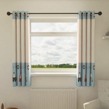 Blue car themed curtains