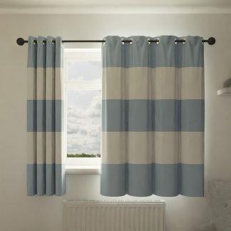 Blue striped curtains