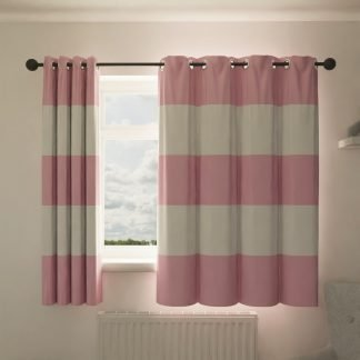 Pink wide striped curtains